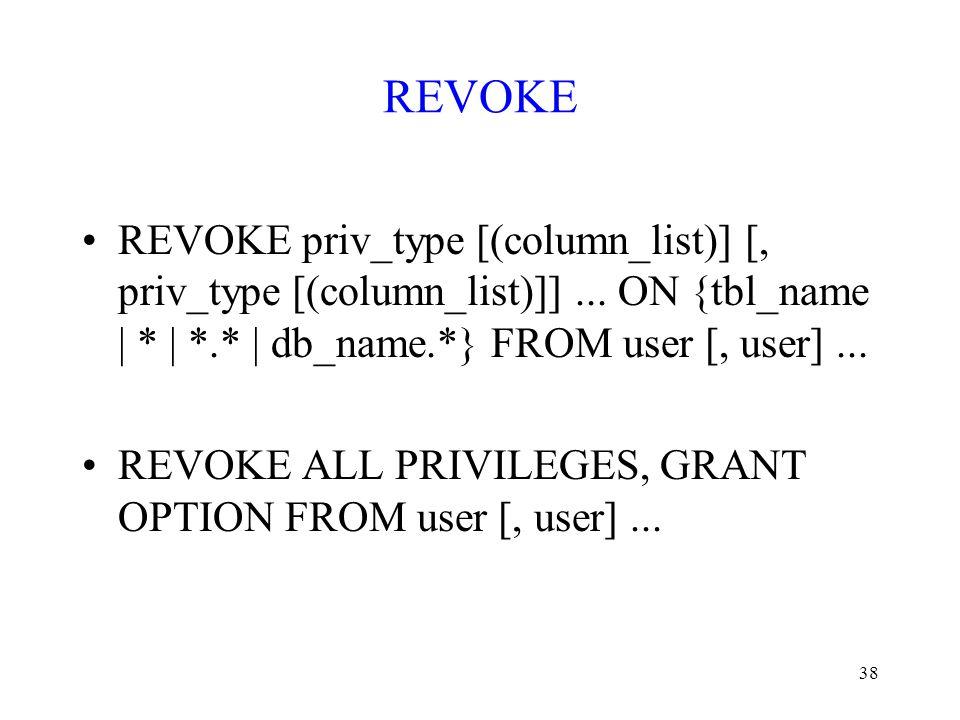 REVOKE REVOKE priv_type [(column_list)] [, priv_type [(column_list)]] ... ON {tbl_name | * | *.* | db_name.*} FROM user [, user] ...